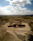 Israel, Tel Arad in the Negev, aerial view frrom the east of 6th to 7th century BC Israelite citadel