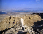 Israel, Masada, aerial view from the west showing the Roman ramp with the Dead Sea beyond