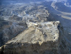 Israel, aerial view of Masada from the Roman Camp beyond