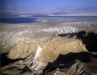 Israel, aerial view of Masada from the west with the Dead Sea beyond