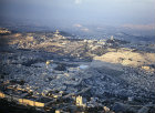 Israel, Jerusalem, aerial view from the south west with Dormition Abbey and the  Al Aqsar mosque, Mary Magdalene Church behind