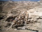 Israel, Mar Saba monastery, Greek Orthodox monastery overlooking Kidron Valley, founded 483 by Saint Sabas of Mutalska, Cappadocia, aerial view from the east