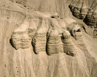 Qumran, aerial view of prehistoric caves where Dead Sea scrolls were found in 1947, Israel