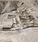 Israel, Qumran, aerial view of excavations of Essene Settlement second century BCE to first century CE,  looking west