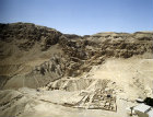 Israel, Qumran, aerial long shot of the excavations of the Essene settlement, second century BCE to  first century CE, looking west