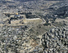 Israel, Jerusalem, aerial view of the City of David, Silwan Village, the Temple Area and the Kidron valley