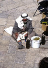Israel, Jerusalem, an Arab trader outside the Damascus gate