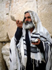 Israel Jerusalem Orthodox Jew sounding the Shofar at the Western Wall