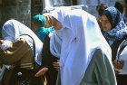 Israel, Jerusalem, Palestinian schoolgirls walk along Sultan Suleiman street in east Jerusalem