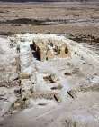 Fortress of Nizzana, fourth century, built by Nabataeans on trade route, aerial view from the south, Israel