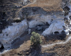 Israel, aerial view of the caves west of Gath