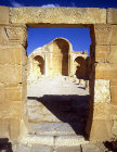 North Church, view from the atrium of apse and nave, Shivta, Negev, Israel