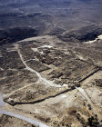 Mamshit, founded by Nabataeans in first century AD, aerial view of main gate in the north mansion, tower and West Church beyond, Negev, Israel