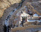 Mar Saba Greek Orthodox Monastery, aerial looking south, Israel