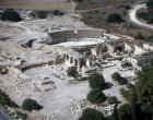 Northern complex amphitheatre,church and fortress, aerial, Bet Guvrin, Israel
