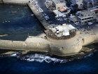 Fortified sea walls, aerial view, Acre, Israel
