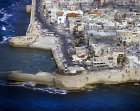 Aerial view of the crusader walls, Acra, Israel