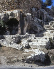 Hinnom Valley, Aceldama, Field of Blood, rock cut tombs dating from first century AD, Jerusalem, Israel