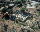 Israel, Upper Galilee, Gush Halav, aerial view of synagogue constructed in Roman period,  circa 250 AD