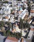 Greek orthodox church in foreground, Franciscan Church behind, aerial view of Cana, known today as Kafr Kanna, Israel
