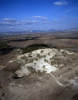 Megiddo, city founded before 3,000 BC, aerial view of excavations looking south