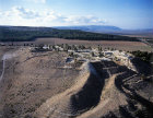 Megiddo, city founded before 3,000 BC, aerial view from the east, Israel