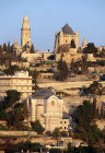 Israel, Jerusalem, Dormition Abbey, Mount Zion and St Peter in Gallicantu at sunrise