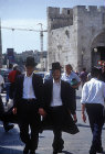 Israel, Jerusalem, two young Orthodox Jews in the old city