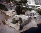 Israel, Tiberius, aerial of fortress on the shore of Galilee (once surrounded by water)