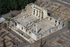 Synagogue, third or fourth century, from south east, aerial, Capernaum, Israel