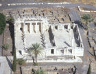 Synagogue, fourth century AD, aerial from the south, Capernaum, Israel