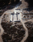 Israel, Galilee, Biria, aerial view of ruins of the synagogue