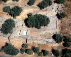 Israel, Tel Dan, aerial view of ruins dating from tenth to ninth century BC