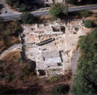 Israel, Banyas, aerial view of Palace of Agrippa II beside route 99