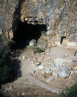Grotto of Pan, showing where statues once stood in niches, aerial, Banyas, Caesarea in Philippi, Israel