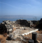 Israel, Tiberius, Mount Berenice, apse of Anchor Church with the Mountains of Gilead across the Sea of Galilee