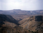 Arbel Pass with the Horns of Hattin in the distance, aerial, Israel