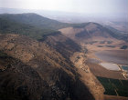 Israel, aerial view of the Mount Gilboa range looking west
