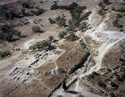 Israel, aerial view of ruins at Gath of the Philistines (Tel es-Safi or Tel Zafit)
