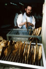 Israel Jerusalem Ultra -Orthodox Jews make Matza for Pesach  Passover Festival Jew removes bread from baking rack