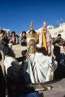 Israel Jerusalem Sephardic Rabbi and man raising the Torah at a Bar Mitzvah ceremony