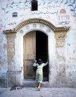 Israel, Jerusalem, doorway of a Muslim pilgrim who has visited Mecca