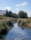 Israel, the Ein Harod River and the Gilboa range