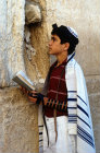 Israel Jerusalem Bar mitzvah boy at the Western Wall praying
