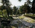 Israel, Jerusalem, ancient stepped road and  Mount of Olives beyond