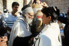 Israel Jerusalem Sephardic Rabbi with boy and the Torah at his Bar mitzvah