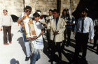 Israel Jerusalem Sephardic Jewish boy carrying the Torah at his Bar mitzvah ceremony