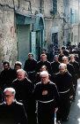 Franciscans in Good Friday procession, Via Dolorosa, Jerusalem, Israel
