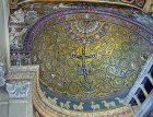 Crucifix, doves, vine scrolls, apostles as sheep, St Paul and Isaiah, thirteenth to fourteenth century apse mosaic, San Clemente, Rome, Italy