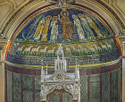 Christ blessing, flanked by saints, with sheep as apostles below, ninth century, in apse of Santa Cecilia in Trastevere, Rome, Italy